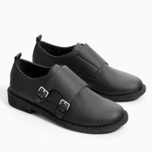 ZARA black monk buckle loafer